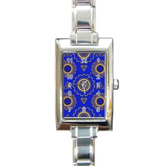 Abstract Mandala Seamless Pattern Rectangle Italian Charm Watch by Nexatart