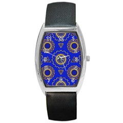Abstract Mandala Seamless Pattern Barrel Style Metal Watch
