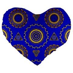 Abstract Mandala Seamless Pattern Large 19  Premium Heart Shape Cushions