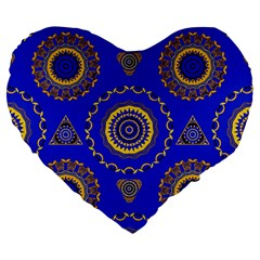 Abstract Mandala Seamless Pattern Large 19  Premium Flano Heart Shape Cushions by Nexatart