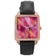 Red Seamless Abstract Background Rose Gold Leather Watch