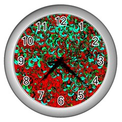 Red Turquoise Abstract Background Wall Clocks (silver)  by Nexatart
