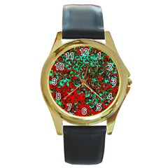 Red Turquoise Abstract Background Round Gold Metal Watch by Nexatart