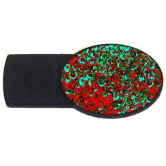 Red Turquoise Abstract Background Usb Flash Drive Oval (4 Gb)