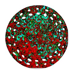 Red Turquoise Abstract Background Ornament (round Filigree) by Nexatart