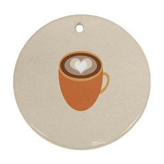 Artin Coffee Chocolate Brown Heart Love Ornament (round)