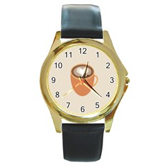 Artin Coffee Chocolate Brown Heart Love Round Gold Metal Watch by Mariart