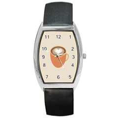 Artin Coffee Chocolate Brown Heart Love Barrel Style Metal Watch by Mariart