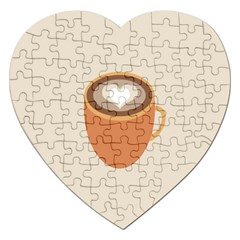 Artin Coffee Chocolate Brown Heart Love Jigsaw Puzzle (heart) by Mariart