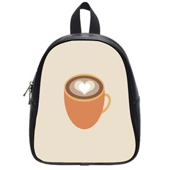 Artin Coffee Chocolate Brown Heart Love School Bags (small)  by Mariart