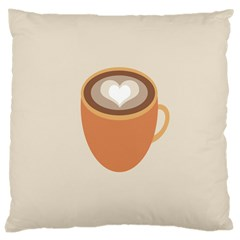 Artin Coffee Chocolate Brown Heart Love Large Cushion Case (two Sides) by Mariart