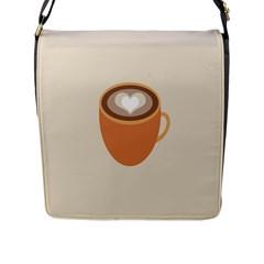 Artin Coffee Chocolate Brown Heart Love Flap Messenger Bag (l)  by Mariart