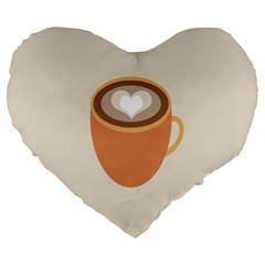 Artin Coffee Chocolate Brown Heart Love Large 19  Premium Flano Heart Shape Cushions by Mariart