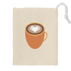 Artin Coffee Chocolate Brown Heart Love Drawstring Pouches (xxl) by Mariart