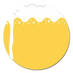 Beer Foam Yellow White Magnet 5  (round) by Mariart
