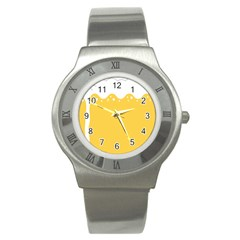Beer Foam Yellow White Stainless Steel Watch by Mariart