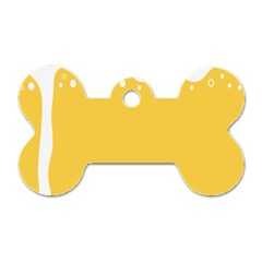 Beer Foam Yellow White Dog Tag Bone (one Side) by Mariart