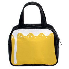 Beer Foam Yellow White Classic Handbags (2 Sides) by Mariart