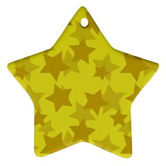 Yellow Star Star Ornament (two Sides) by Mariart