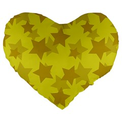 Yellow Star Large 19  Premium Heart Shape Cushions by Mariart