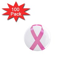 Breast Cancer Ribbon Pink 1  Mini Magnets (100 Pack)  by Mariart