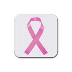 Breast Cancer Ribbon Pink Rubber Square Coaster (4 Pack)  by Mariart