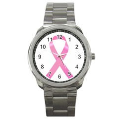 Breast Cancer Ribbon Pink Sport Metal Watch by Mariart