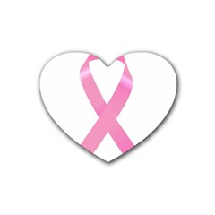 Breast Cancer Ribbon Pink Rubber Coaster (heart)  by Mariart