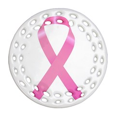 Breast Cancer Ribbon Pink Ornament (round Filigree) by Mariart