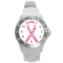 Breast Cancer Ribbon Pink Round Plastic Sport Watch (l) by Mariart
