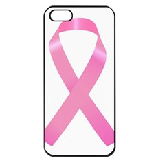 Breast Cancer Ribbon Pink Apple Iphone 5 Seamless Case (black) by Mariart