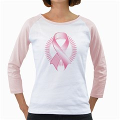 Breast Cancer Ribbon Pink Girl Women Girly Raglans by Mariart