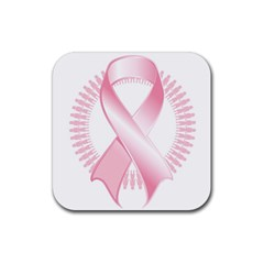 Breast Cancer Ribbon Pink Girl Women Rubber Coaster (square)  by Mariart
