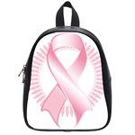 Breast Cancer Ribbon Pink Girl Women School Bags (Small)  Front