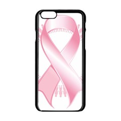 Breast Cancer Ribbon Pink Girl Women Apple Iphone 6/6s Black Enamel Case by Mariart