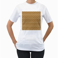 Chess Dark Wood Seamless Women s T Shirt (white) (two Sided) by Mariart