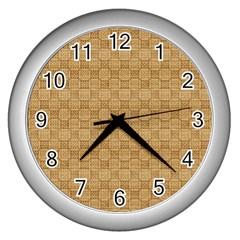 Chess Dark Wood Seamless Wall Clocks (silver)  by Mariart