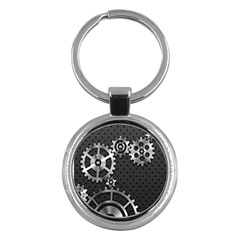 Chain Iron Polka Dot Black Silver Key Chains (round)  by Mariart