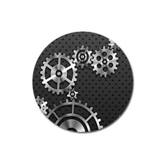 Chain Iron Polka Dot Black Silver Magnet 3  (round) by Mariart