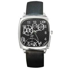 Chain Iron Polka Dot Black Silver Square Metal Watch by Mariart