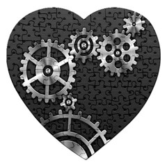 Chain Iron Polka Dot Black Silver Jigsaw Puzzle (heart) by Mariart