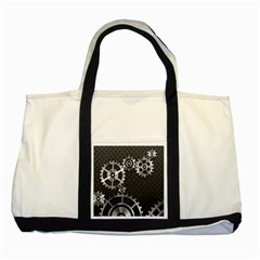 Chain Iron Polka Dot Black Silver Two Tone Tote Bag by Mariart