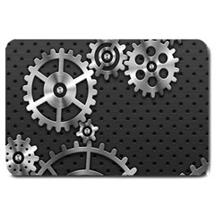 Chain Iron Polka Dot Black Silver Large Doormat  by Mariart