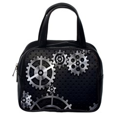 Chain Iron Polka Dot Black Silver Classic Handbags (one Side) by Mariart