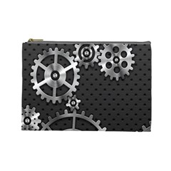 Chain Iron Polka Dot Black Silver Cosmetic Bag (large)  by Mariart