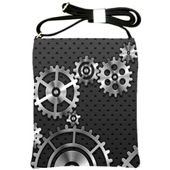 Chain Iron Polka Dot Black Silver Shoulder Sling Bags by Mariart