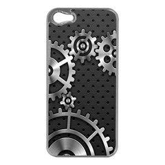 Chain Iron Polka Dot Black Silver Apple Iphone 5 Case (silver) by Mariart