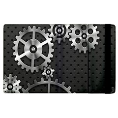 Chain Iron Polka Dot Black Silver Apple Ipad 2 Flip Case by Mariart