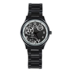 Chain Iron Polka Dot Black Silver Stainless Steel Round Watch by Mariart