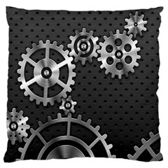 Chain Iron Polka Dot Black Silver Large Flano Cushion Case (two Sides) by Mariart